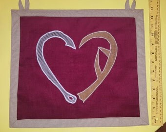 Fishing hook and antler heart tapestry OOAK upcycled hunting love wall hanging