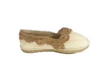 Espadrilles hand sewn original Alpargatas of Spain and embellished with Indian cloth inserts