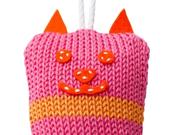 Hand Made Knitted Tiny Kitty Toy - Pink