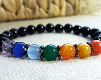 7 Chakra bracelet Yoga Jewelry Women Beaded Bracelet 8 mm Gemstone Bracelet Gift For Her Him Healing Bracelet Balance Bracelet Mens Bracelet