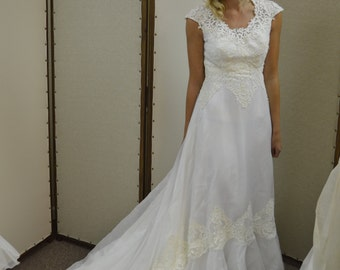 Classic Lace Vintage Gown with Cathedral Train