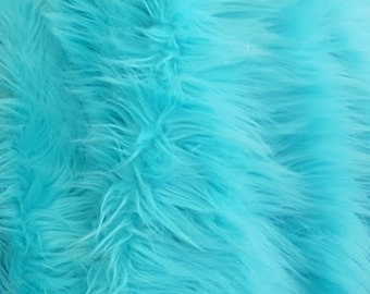 Shaggy Luxury Faux Fake Fur / Aqua Fabric by the yard (Z2)