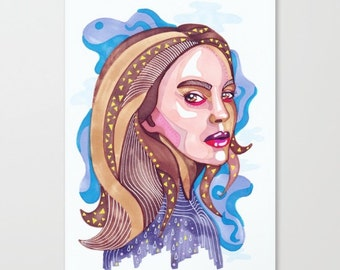 Natalie A4 A5 Digital Woman Illustration Print natalie portman, woman portrait, portraits, drawing, illustration