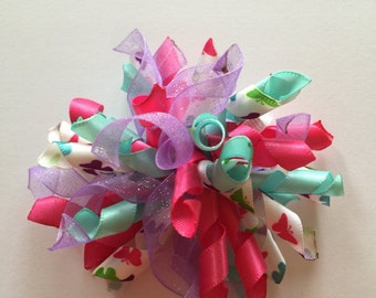 Multi colored butterfly hair bow