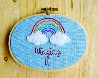 Winging It. Hand Embroidered Hoop Art