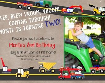 Trucks & Tractors Birthday invitation - Digital file only.