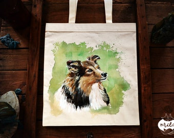 Doggie Colli - Hand Painted Cotton Tote Eco Bag Handmade by Milo