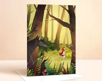 Red Riding Hood Card | Birthday Card | Kids Birthday | Greeting Card | Fairy Tale | Art Card | Nursery Art | Childrens Card
