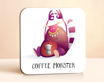 Coffee Monster Coaster | Coffee Coaster | Coffee lovers Gift | Gift for Him | Gift for Her | Wood Coaster | Funny Gift | Drink Coaster