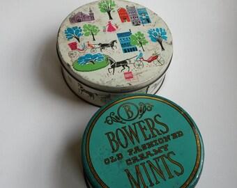 Vintage tins, Barton's candy tin, Bowers mints tin, vintage metal tins, vintage sewing tins, vintage storage tins, farmhouse decor