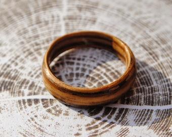 2 Hand crafted wooden veneer rings