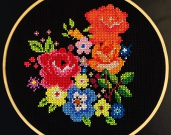 Colorful Flowers Cross Stitch