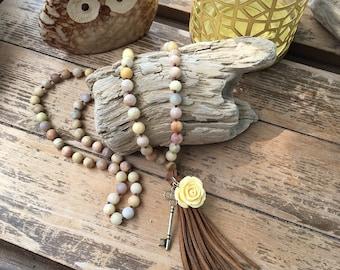 Handmade knotted boho necklace