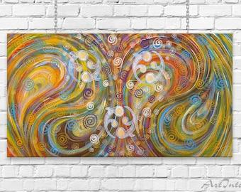 Meditation painting Yellow Purple Blue Yin Yang Abstract painting 50х90 cm Zen art