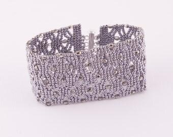 handmade beaded bracelet white silver