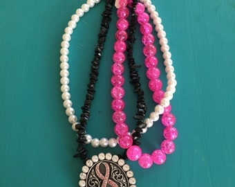 Beaded breast cancer awareness necklace