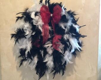 Black & White Feather Wreath