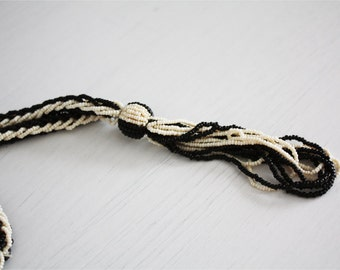 Vintage black and white beads long necklace micro, 20 years