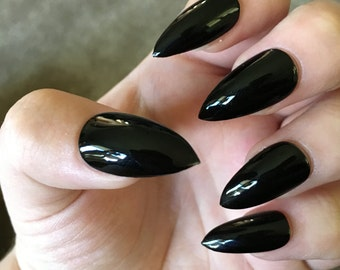 Black Fake Nails | Press On | Glue On Nails | Different Shapes