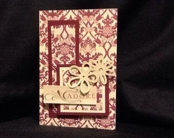"Dimensional Burgundy ""Adore"" note card"