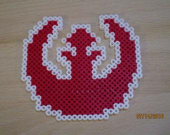 Star Wars Republic Symbol Perler Beads, handmade, magnet
