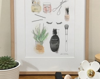 Beauty Products PRINTABLE ART for your Bedroom, Powder Room or Bathroom