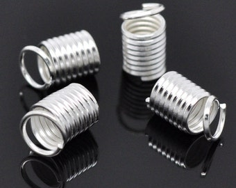 "20 caps ""Spiral"" - 9 * 5 mm - silver plated / D1-0054"