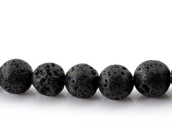 10 lava pearls - 10 mm - black / E1-0336