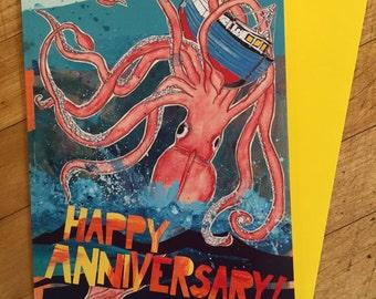 Squid Anniversary Card
