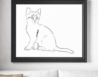 Cat Art Print - Minimalist Art, Cat Print, Cat Illustration, Cat Drawing, Cat Painting, Modern Art, Wall Art, Gifts For Her, Cat Lover Gift