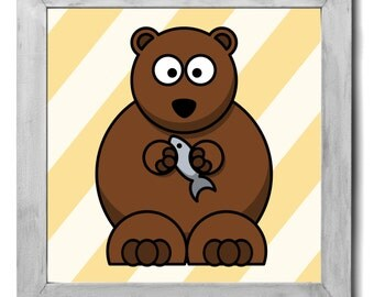 Bear Print - Kids Room Decor, Kids Wall Art, Kids Art, Nursery Decor, Nursery Art, Nursery Wall Art, Wildlife Nursery Art, Baby Animal Art