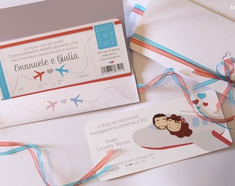 participations wedding theme trip with personalized illustration • Personalized wedding Invitation