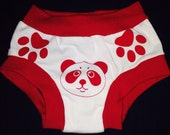 Training underwear unisex red panda potty training print underwear with paws to show how to put them on, with free shipping within the USA
