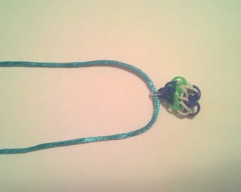 Blue, Green, & White Rubber-band necklace