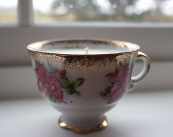 Unique Lavender Soy Tea Cup Candle Hand Made
