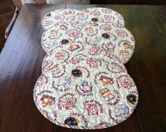 Teatime 6 Oval Quilted Placemats