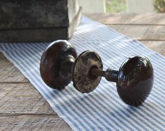Salvaged Door Knob Set Brown Faux Marble, Home Improvement Restoration Hardware