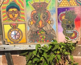 Wooden spiritual illustration board. One off