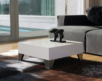 Coffee Table EVOLUTION 60, Minimal Style, Glossy White