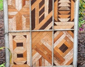 Salvaged wood quilt blocks in vintage window pane, Barn wood quilt block, geometric art