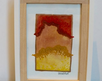 Original Small Bright Watercolor Abstract Painting Red Gold Burnt and Orange with gold leaf detail