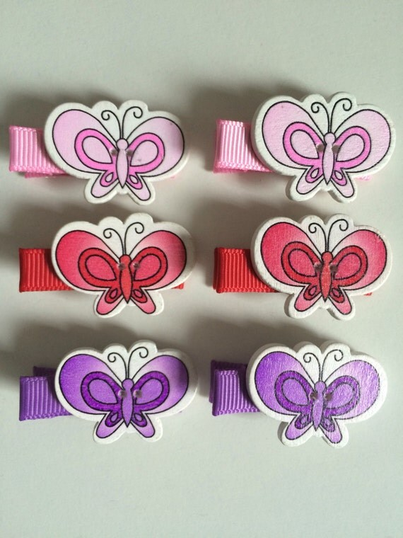 Butterfly Hair Slides - Set of 6