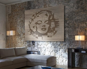 PICTURE with Marilyn Monroe cm 120x160 laser engraving on wood decorate your home