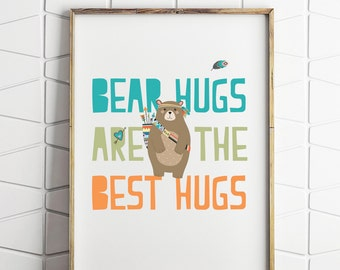 bear hug printable, nursery art prints, nursery bear art, kids bear art, nursery bear decor,bear hug print, bear wall decor
