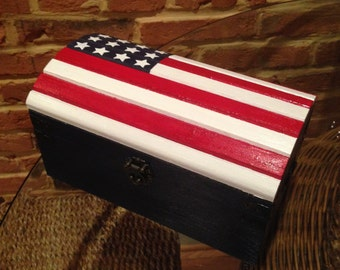 Hand painted American flag on a keepsake wooden box