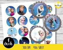 50% OFF SALE 75 Frozen Bottle cap-Frozen 1 inch Bottle cap-Frozen stickers-Disney Frozen-Disney bottle cap-Disney 1 inch bottle cap-Olaf