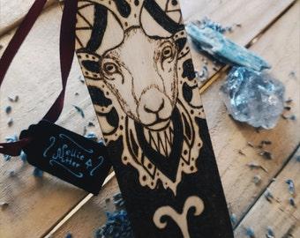 SALE 25% OFF Aries Zodiac Bookmark , Zodiac Gift , Wooden Handmade Bookmark , Woodburning , Pyrography , Zodiac Signs , Gift Idea