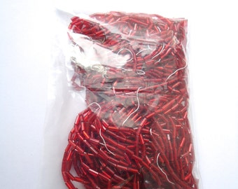 Red Bugle Beads - Red Silver Lined - Silver Lined Beads - Red bead hank - Bugle bead Hank - Glass Bead Hank - Red Seed Bead - Red Beads