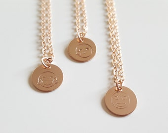 Rosé Gold filled chain with smiley - platelets