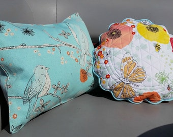 Blue Birds of Happiness in Pillows